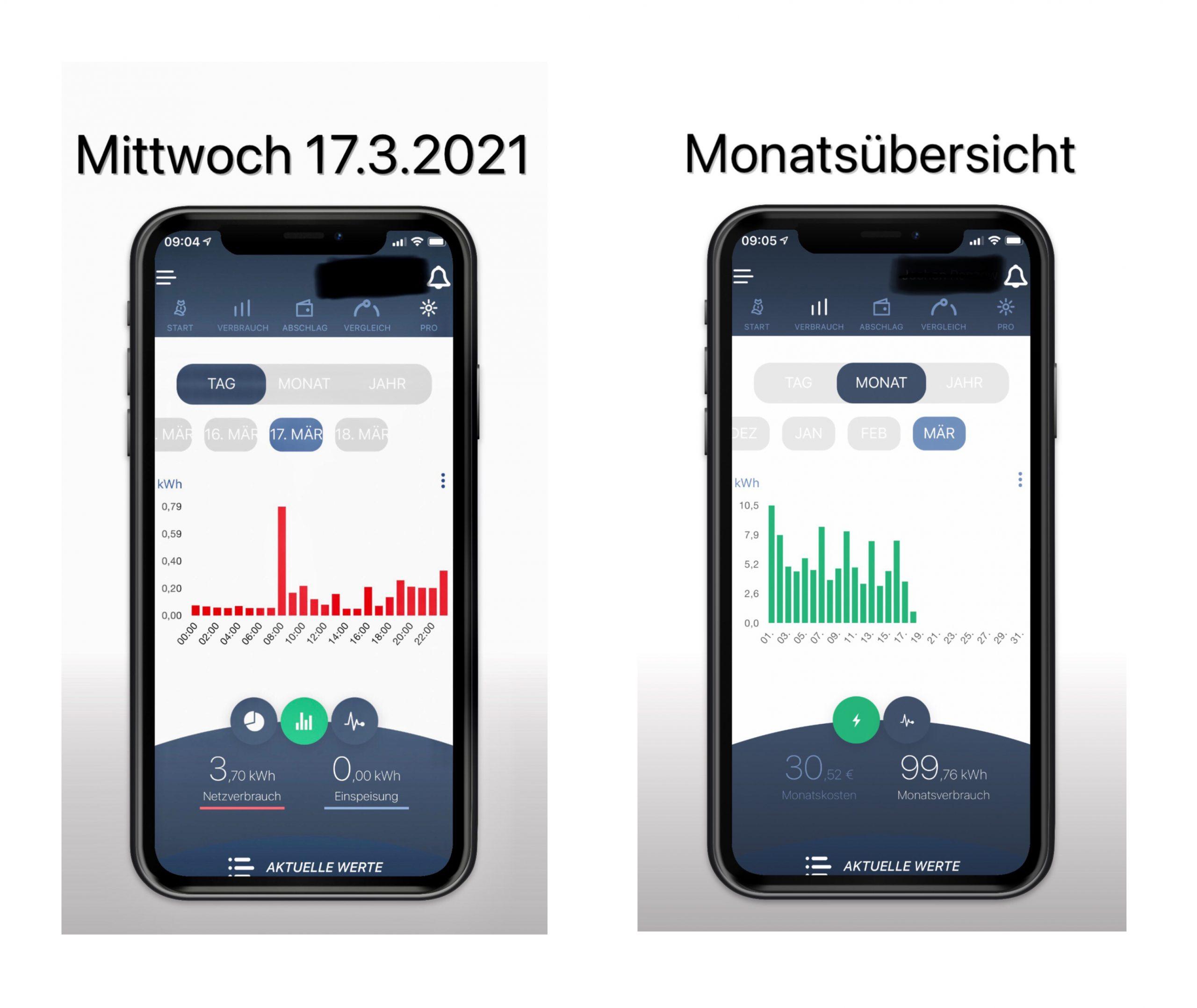Smart Meter App Darstellung